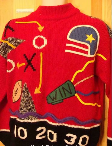 Vintage Football Sweaters Make Fall Fun (and can be worn at Christmas!)