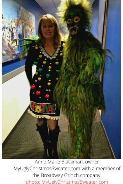 Anne Marie Blackman Wearing a Fab Christmas Dress on Fox News, Posing with Grinch