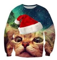 Cats with Santa Hats and Pizza Make a Winning Christmas Sweater Combination