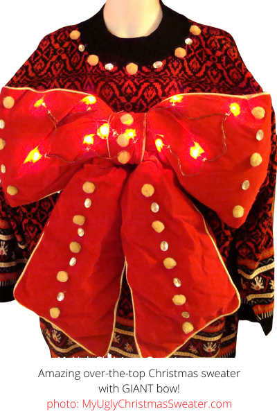Contest Winning Ugly Christmas Sweater with Giant Bow and Lights