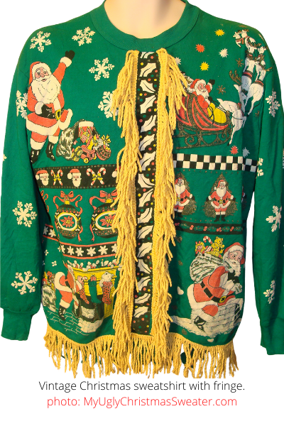 Vintage Busy Christmas Sweatshirt with Santa and Candy Canes - with Fringe!