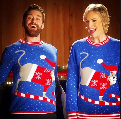 Purrrfect Cat Christmas Sweaters for Jane Lynch and Matthew Morrison