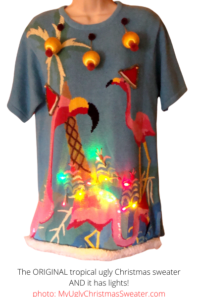 Tropical Ugly Christmas Sweater with Flamingos and Lights