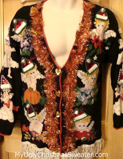 Vintage 80s Christmas Sweater with Angels in Santa Hats