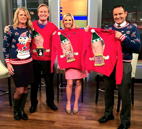Anne Marie Blackman with Fox and Friends hosts and custom ugly Christmas sweaters