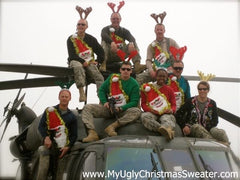 ugly christmas sweater military in wacky santa sweaters