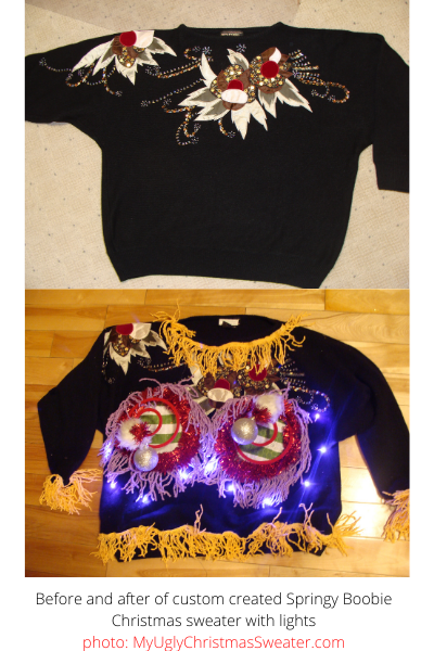before and after diy ugly christmas sweater with lights