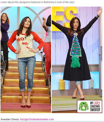25e903d2bb297 Bethenny Frankel wore a classic dress embellished from My Ugly Christmas  Sweater® on her show. This ugly Christmas sweater dress has a crafty  macrame tree ...