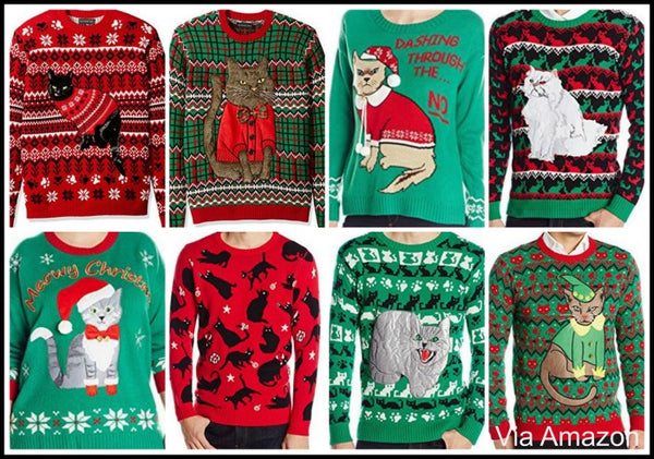Cat Themed Christmas Sweaters Mens Womens All Sizes Incl Plus Size