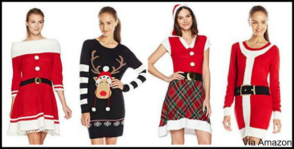 Christmas Sweater Dress - Christmas Sweater Dress - Knit Dresses, Swing And Tshirt Festive Style