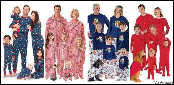 christmas pajamas candy cane striped lights minions
