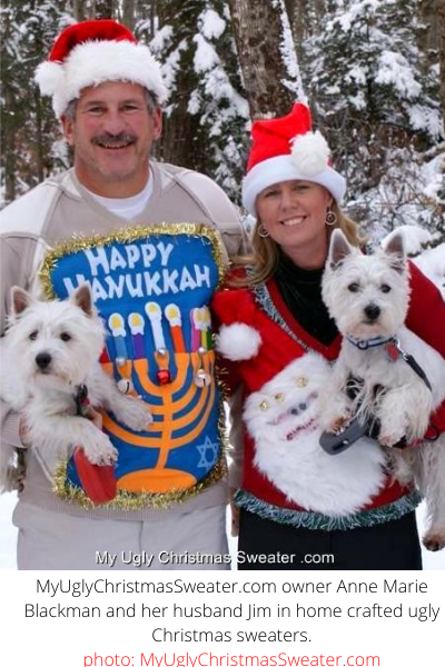 couples christmas sweater christmas card with hanukkah and santa sweaters