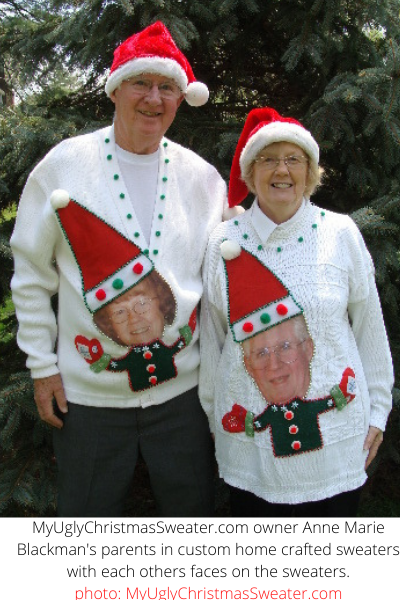custom christmas sweaters for couples with faces and santa hats