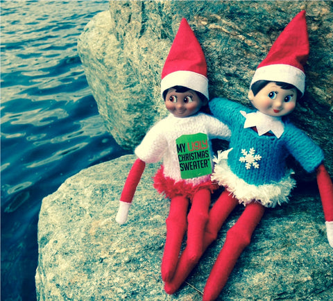 Elf on the shelf friends at the lake wearing Christmas sweaters. See more #elfontheshelf in #christmassweaters at www.myuglychristmassweater.com