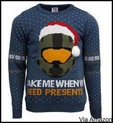 Halo Christmas Sweater.Video Game Themed Christmas Sweaters