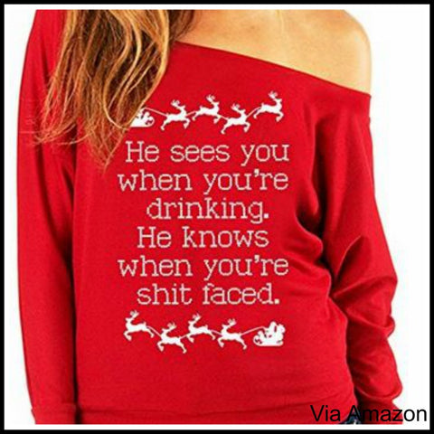 naughty christmas sweater he sees you when youre - Dirty Christmas Sweaters