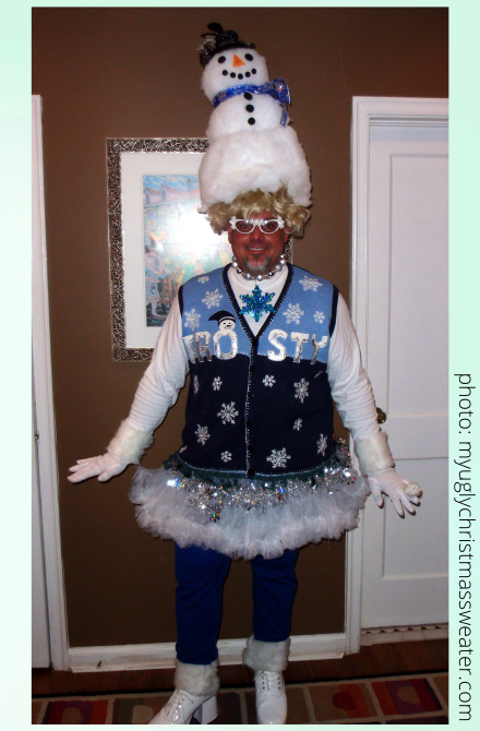 ugly christmas sweater contest winning frosty sweater with headpiece