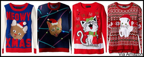 Cat Themed Christmas Sweaters - Mens, Womens, All Sizes Incl Plus Size