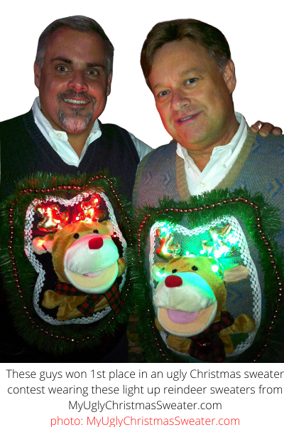 contest winning christmas sweaters matching reindeer with lights