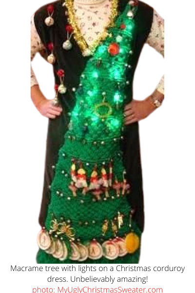 ugly christmas sweater dress with 1970s macrame tree and lights contest winner