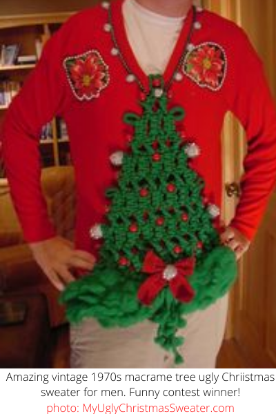 macrame tree ugly christmas sweater for men contest winner