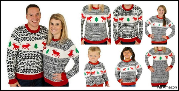 couples,matching,christmas,sweaters,family,child,dog