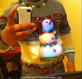 My Ugly Christmas Sweater Mens Light Up 3D Snowman