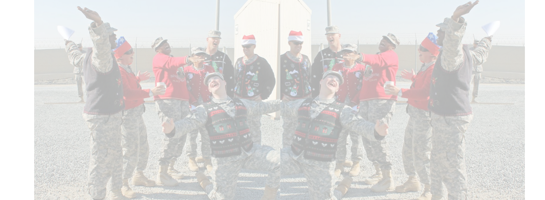 usa military singing carols wearing sweaters donated from myuglychristmassweater