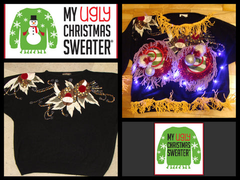 DIY ugly Christmas sweaters from www.MyUglyChristmasSweater.com.  These Naughty Christmas sweaters are best sellers at My Ugly Christmas Sweater, and have dangling fringe, real working lights and 3D decorations.
