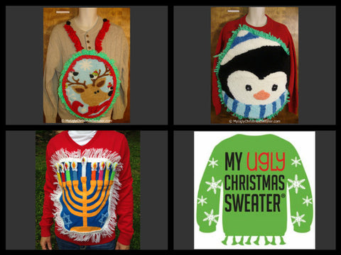 Crafty DIY Ugly Christmas sweaters from www.MyUglyChristmasSweater.com . If you are entering an ugly Christmas sweater party contest, then you definitely want one of these gems.