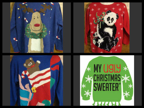 Cute Christmas sweaters from www.MyUglyChristmasSweater.com. Cute retro 80s sweaters with reindeer, pandas, dogs and cats. Cute and cozy to wear all winter long. #christmassweaters
