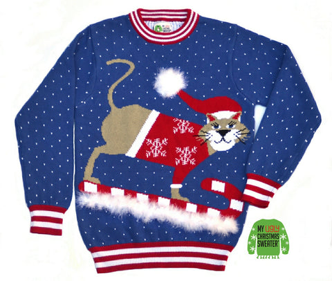 sledding cat sweater from my ugly christmas sweater