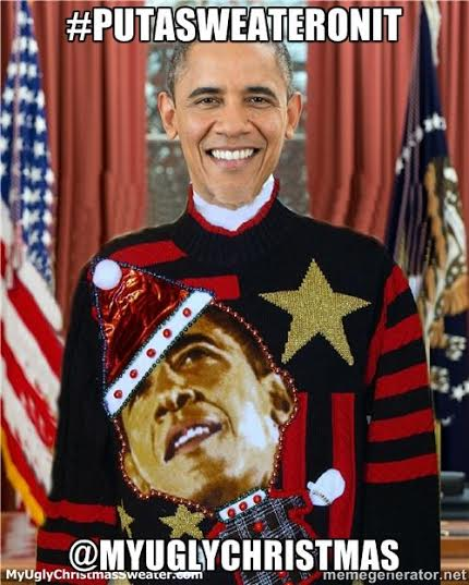 president obama putasweateronit christmas sweater