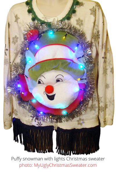 puffy snowman christmas sweater with lights contest winner