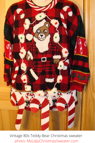teddy bear vintage christmas sweater with dollar store decorations