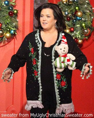 ugly christmas sweaters on the Rosie Show from my ugly christmas sweater, inc