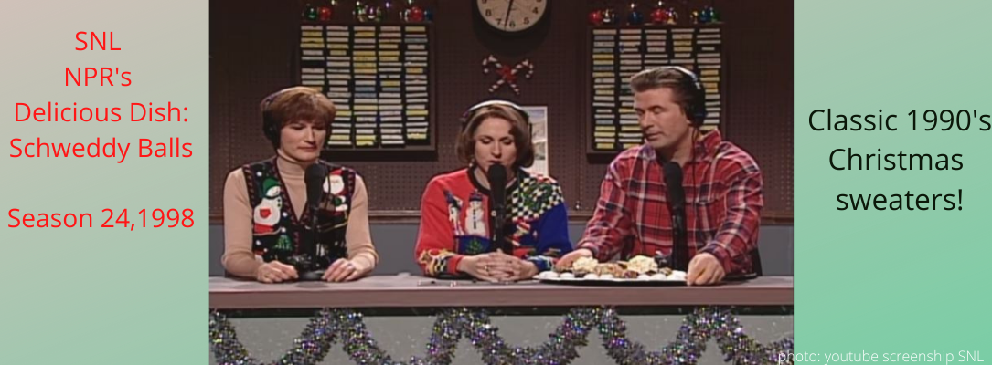 schweddy balls snl skit with hosts wearing christmas sweaters