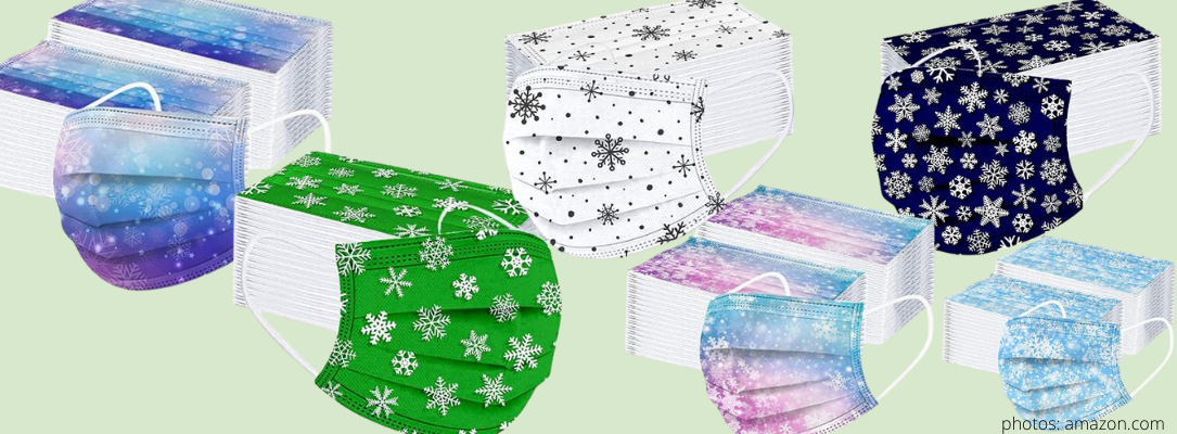 disposable snowflake facemasks pack of 50 face masks