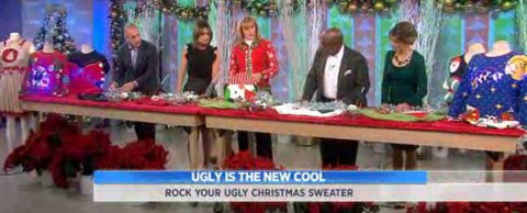 My Ugly Christmas Sweater on The Today Show, showing the hosts how to make a DIY #uglychristmassweater.  Anne Marie Blackman from www.MyUglyChristmasSweater.com demonstrated how to craft an ugly Christmas sweater with a placemat, garland,  and a gluegun