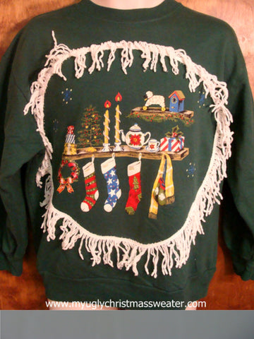 Tacky Green Stockings Scene Christmas Sweatshirt