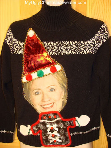 Tacky Hillary Clinton Christmas Sweater