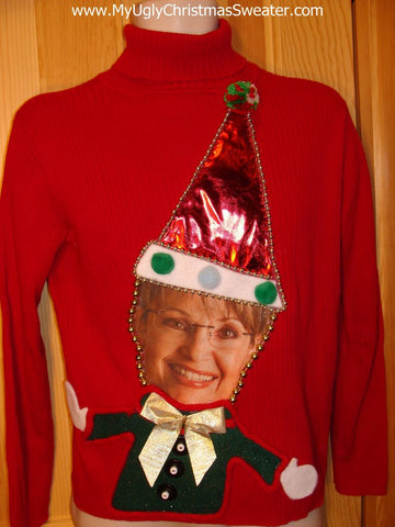 "Sarah Palin ""Santa"" Tacky Christmas Sweater Party Winner"