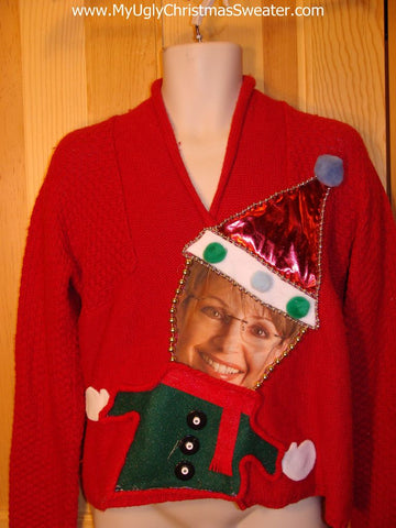 Sarah Palin Tacky Christmas Sweater Party Winner