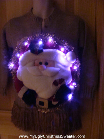 Tacky 3D Ugly Christmas Sweater Puffy Santa with Lights and Fringe (A11)