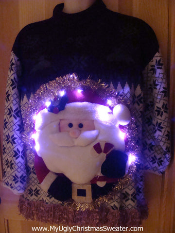 Tacky 3D Ugly Christmas Sweater Puffy Santa with Lights and Fringe (A12)