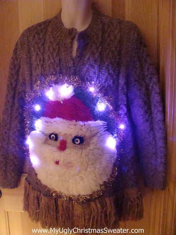 Tacky 3D Ugly Christmas Sweater Puffy Santa with Lights and Fringe (A13)