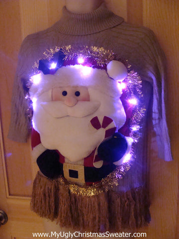 Tacky 3D Ugly Christmas Sweater Puffy Santa with Lights and Fringe (A14)
