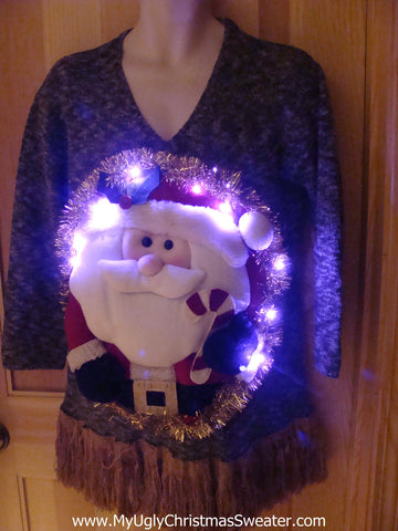 Tacky 3D Ugly Christmas Sweater Puffy Santa with Lights and Fringe (A15)