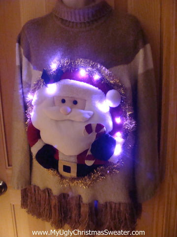 Tacky 3D Ugly Christmas Sweater Mens Puffy Santa with Lights and Fringe (A16)