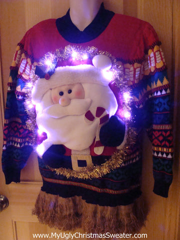 Tacky 3D Ugly Christmas Sweater Puffy Santa with Lights and Fringe 80s Style with Padded Shoulders(A17)